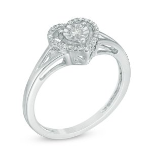 1/10 CT. T.W. Diamond Heart Split Shank Ring in Sterling Silver - Size 7 - Save on Select Styles - Zales