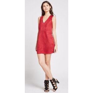 Sleeveless Faux-Suede A-Line Dress