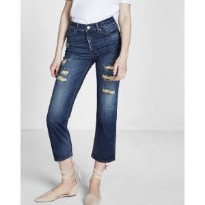 High Waisted Stretch Straight Cropped Jeans | Express
