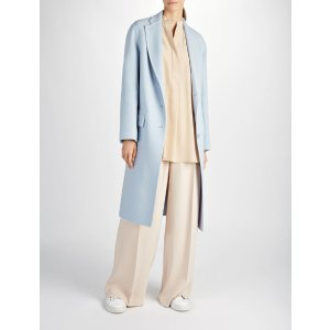 Double Face Wool Simo Coat in Blue | JOSEPH