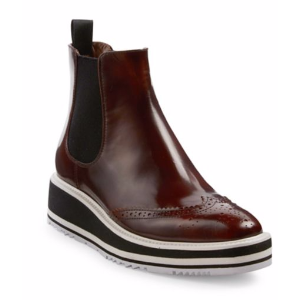 Prada - Microsole Leather Brogue Chelsea Booties - saks.com