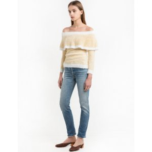 Fuzzy Striped Off The Shoulder Sweater