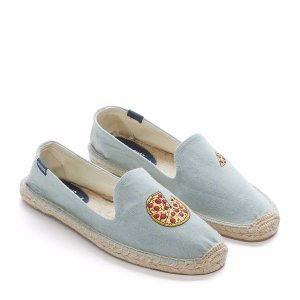 Chambray Pizza Embroidered Flat Espadrilles - Century 21