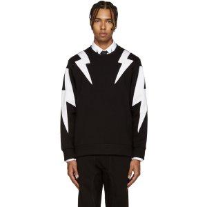 Neil Barrett: Black & White Thunderbolt Pullover