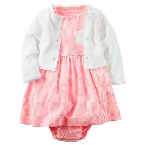 Baby Girl 2-Piece Babysoft Neon Bodysuit Dress & Cardigan Set | Carters.com