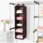 MaidMAX 5-Shelf Collapsible Hanging Accessory Shelves with 2 Widen Velcros for Clothes and Shoes Storage for Gift, Brown