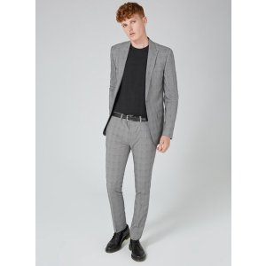 Gray and Blue Check Suit Jacket - Blazers - Clothing