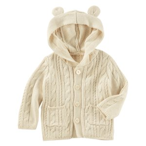 Cable-Knit Hooded Jacket