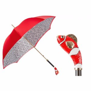 Pasotti Luxury Red Fish Umbrella, Double Cloth | Unineed | Premium Beauty