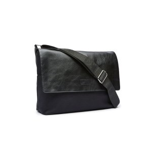 Leather and Canvas Messenger Bag   Perry Ellis