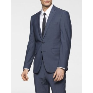 body slim fit blue chambray suit jacket | Calvin Klein