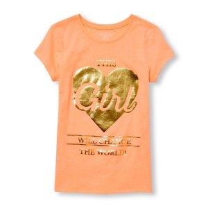 Girls Short Sleeve 'This Girl Will Change The World' Neon Graphic Tee