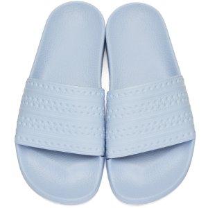 adidas Originals: Blue Adilette Slide Sandals