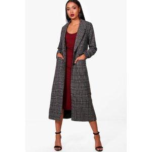 Sophie Maxi Check Wool Coat | Boohoo