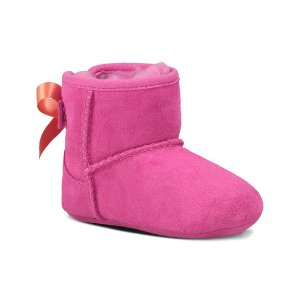 UGG® Princess Pink Jesse Bow Suede Booties - Infant | zulily