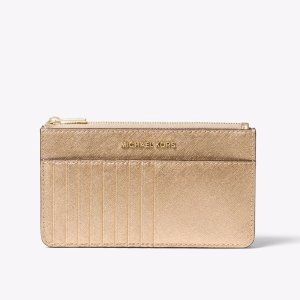 Jet Set Travel Metallic Leather Smartphone Card Case   Michael Kors