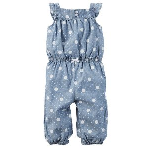 Baby Girl Polka Dot Chambray Jumpsuit | Carters.com