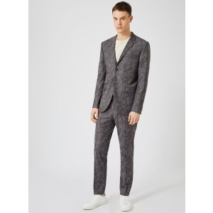 Gray Fern Print Skinny Fit Suit