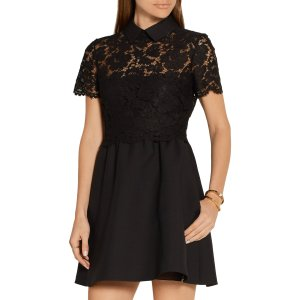 Lace-paneled wool and silk-blend crepe mini dress | Valentino | US | THE OUTNET