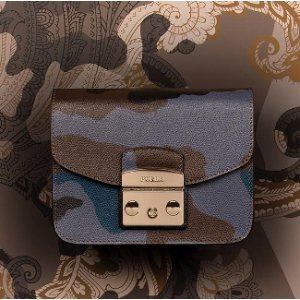 Furla Metropolis Mini Camo-Print Leather Crossbody Bag
