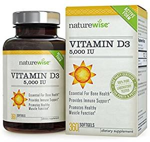 $12.87NatureWise Vitamin D3 5,000 IU for Healthy Muscle Function, Bone Health and Immune Support, Gluten Free & Non-GMO in Cold-Pressed Organic Olive Oil,360 count