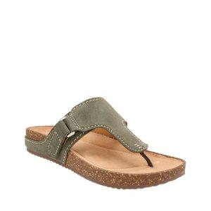 Rosilla Dover Khaki Suede - Womens Flat Sandals - Clarks® Shoes Official Site