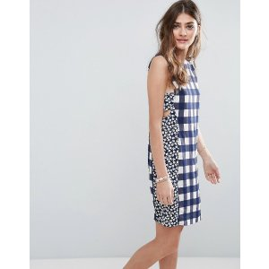 ASOS Mini Dress in Gingham Mixed Print With Tab Side Detail