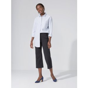 The Cindy High-Waist Wide-Leg Ankle Jean in Black | Frank And Oak