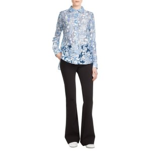 Printed Asymmetric Blouse with Sheer Inserts - Carven | WOMEN | US STYLEBOP.COM