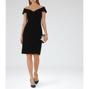 Haddi Black Off-The-Shoulder Dress - REISS