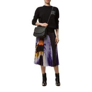 Christopher Kane Pansy Print Pleated Skirt