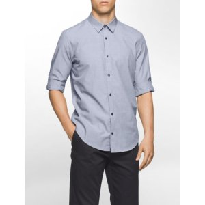 slim fit end-on-end solid roll-up shirt | Calvin Klein