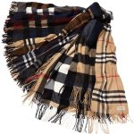Burberry Men's Half Mega Check Cashmere Scarf, Brown/Gray