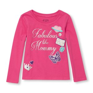 Toddler Girls Long Sleeve 'Fabulous Like Mommy' Puff Graphic Tee | The Children's Place