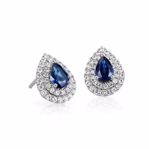 Sapphire and Diamond Double Halo Earrings in 18k White Gold (6x4mm) | Blue Nile