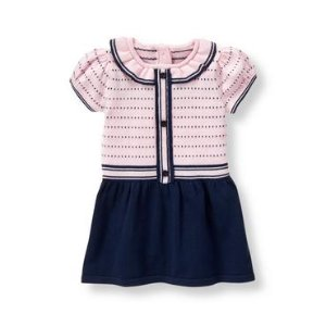 Baby Girl Navy Dot Dot Sweater Dress at JanieandJack
