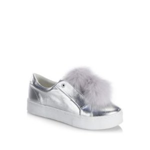 Leya Metallic Faux Fur Pompom Accented Sneakers