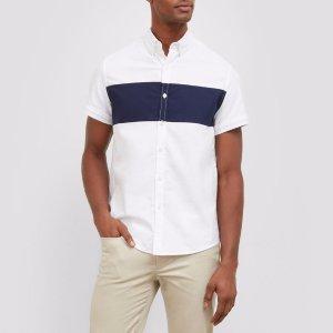 Short-Sleeve Color Block Stripe Shirt | Kenneth Cole