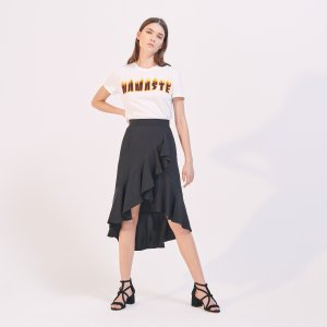 Long Asymmetric Ruffled Skirt - Skirts - Sandro-paris.com