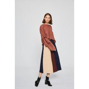 Color Block Mid-Length Skirt FMSK0009