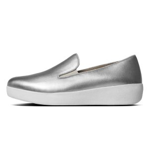 FitFlop Superskate Leather Loafers Silver