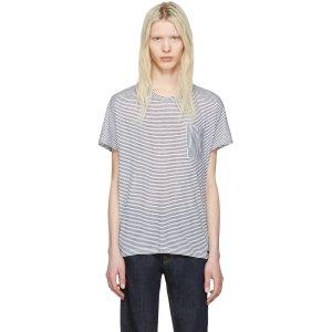 Burberry: White & Blue Striped Milford T-Shirt