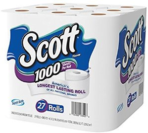 $14.02Scott 1000 Sheets Per Roll Toilet Paper, Bath Tissue, 27 Rolls