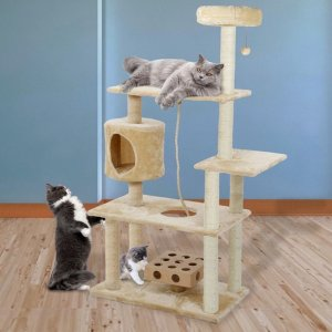 $64Deluxe Playground Cat Tree House with Cat-IQ Busy Box and Rope
