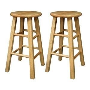 $35Winsome Wood 24-Inch Square Leg Barstool with Natural Finish, Set of 2