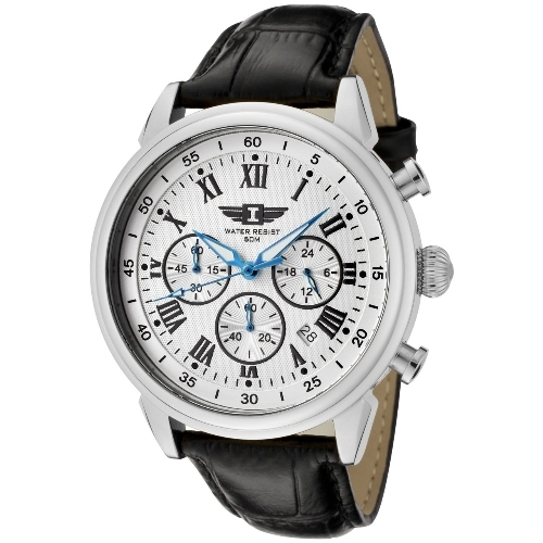 Invicta Men Chronograph Silver Dial Black Leather Watch