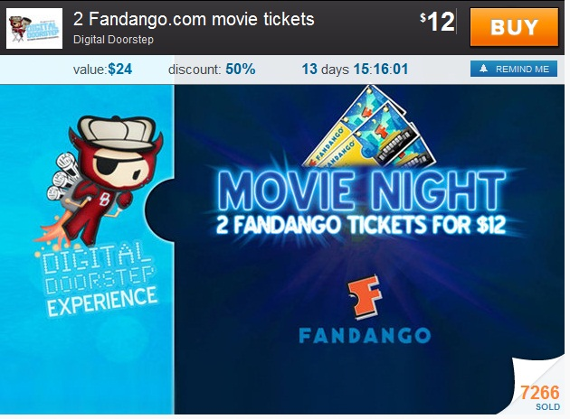 $122 Fandango Movie Tickets $12