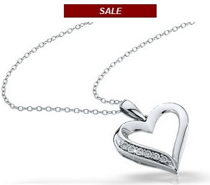 Diamond Heart Pendant in Sterling Silver with Chain