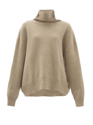 Cropped displaced-sleeve roll-neck wool sweater | Raey | MATCHESFASHION US