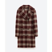 BURGUNDY GREY CHECK COAT - View All-OUTERWEAR-WOMAN-SALE | ZARA United States